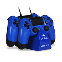 4Gamers - PS4 Licensed Twin Play and Charge Cables with Desktop Stand Blue
