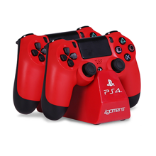 4Gamers - PS4 Licensed Twin Play and Charge Cables with Desktop Stand Red