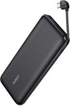 Aukey - PB-N73C Basix Sling 10000mAh 18W Power Bank with Built-in USB- C Cable