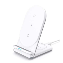 Aukey - LC-A2-WT Aircore Series 2-In-1 Wireless Charging Stand White