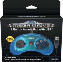 Retro-Bit - Wired Official 6-button Controller for SEGA Mega Drive Mini Blue