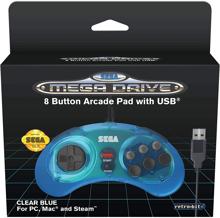 Retro-Bit - Wired Official 8-button Controller for SEGA Mega Drive Mini Blue