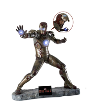 Iron Man 3 - Iron Man Battlefield Version Life Size Figure (LED lighting & base included)