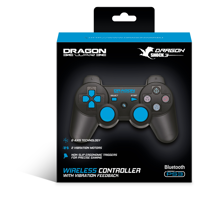 Dragonwar DragonShock Bluetooth Controller Black for PS3.  Wireless Controller with Charger Cable - Compatible for Playstation 3.