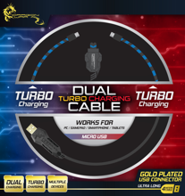 Dragonwar Dual Turbo Charging Cable. Charging 2 devices with Micro USB output, Gold USB Connector, 4m for PC, controller, smartphones, tablets