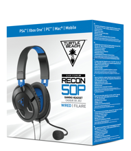 Turtle Beach Ear Force Recon 50P Wired Gaming Headset Black for PS5, PS4, Xbox Series, Xbox One, PC & Mobile