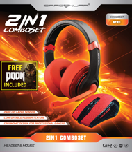 Dragonwar Combo Set 2in1, Gaming Headset + Gaming Mouse) Red Edition + Full Game Doom PC